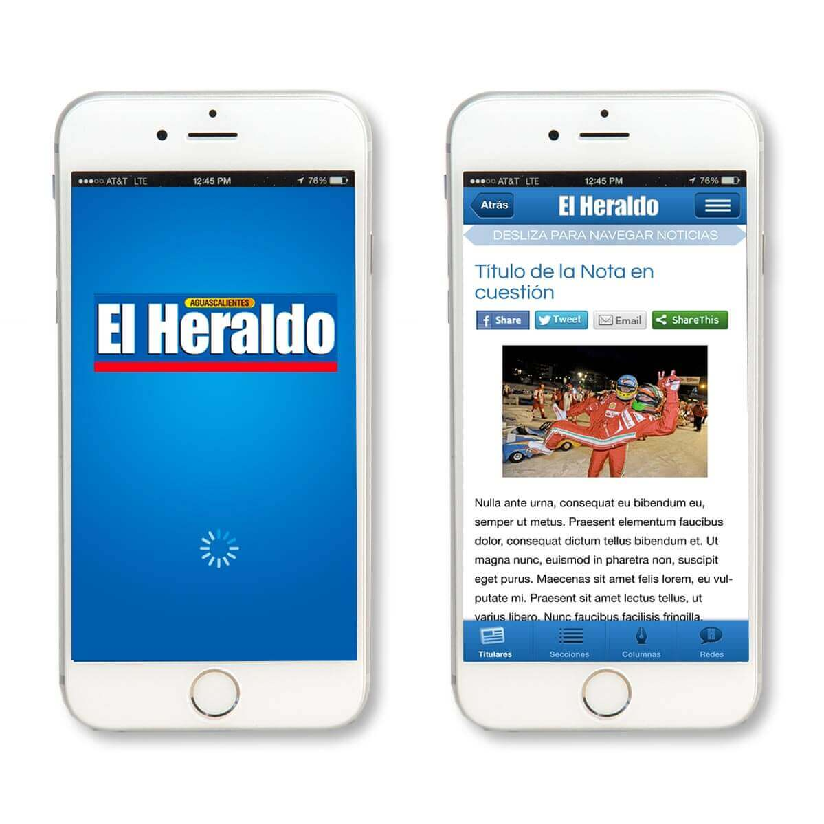 El Heraldo app splash screen and an internal page example