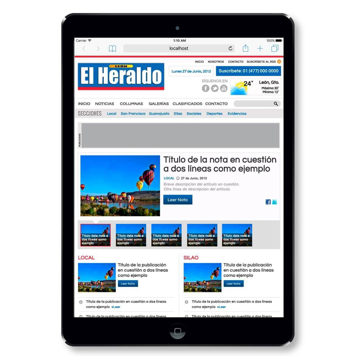 El Heraldo on mobile safari for iPad photo
