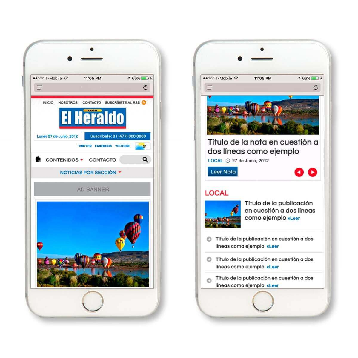 El Heraldo on mobile safari for iPhone