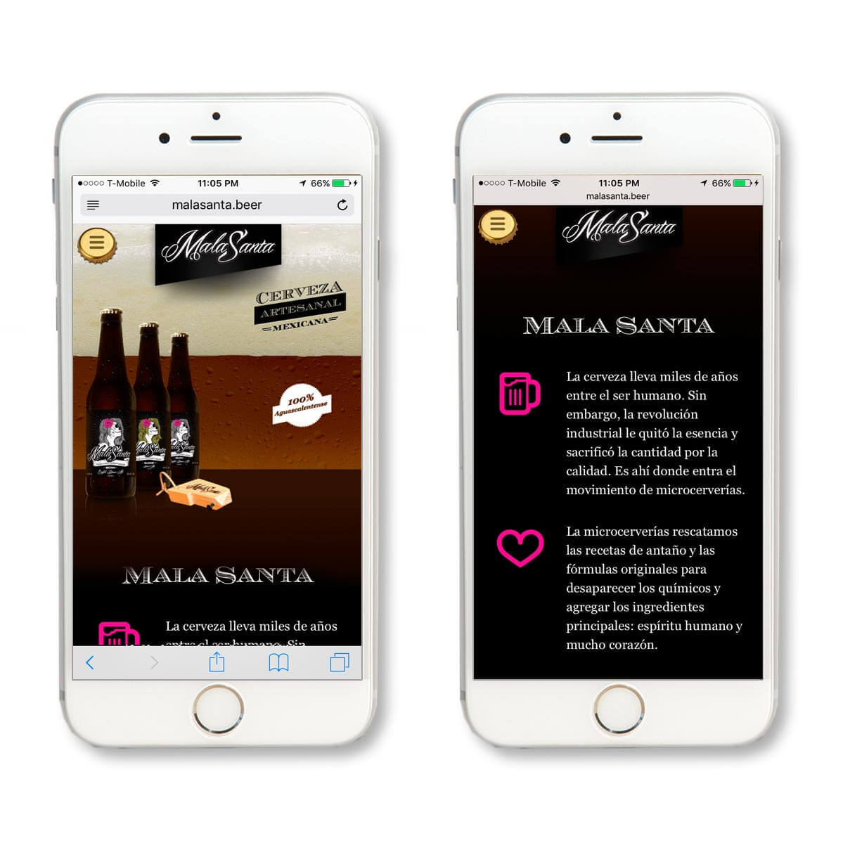 Mala Santa Cerveza website screenshots
